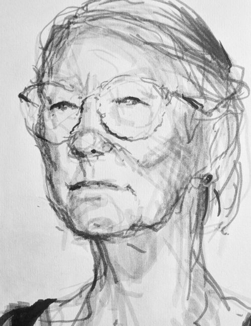 Ink drawing of lady with glasses by Hester Berry